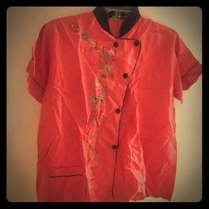 Hand painted vintage silk women's pajama top
